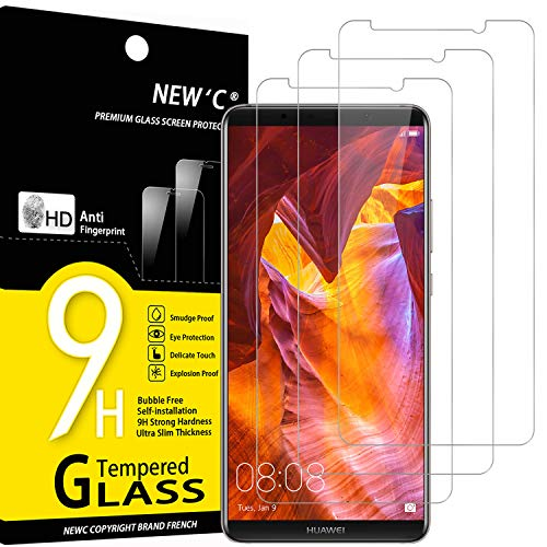 NEW'C Lot de 3, Verre Trempé Compatible avec Huawei Mate 10 Pro, Film Protection écran sans Bulles d'air Ultra Résistant (0,33mm HD Ultra Transparent) Dureté 9H Glass