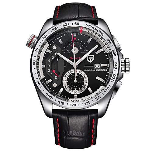 Armbanduhren,Quarzuhr Multifunktions wasserdichte Sportmode Uhr, Weiße Schale Schwarzen Gürtel