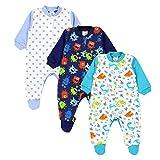 TupTam Baby Jungen Schlafstrampler mit Fuß 3er Pack, Farbe: Farbenmix 4, Größe: 56