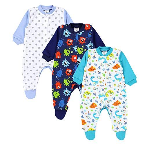 TupTam Baby Jungen Schlafstrampler mit Fuß 3er Pack, Farbe: Farbenmix 4, Größe: 68