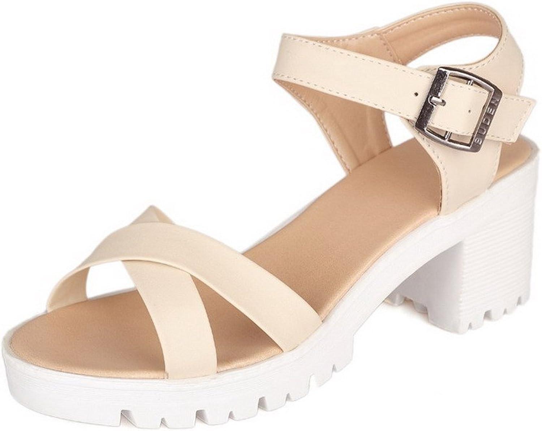 AmoonyFashion Women's Solid Kitten Heels Buckle Open Toe Platforms-Sandals