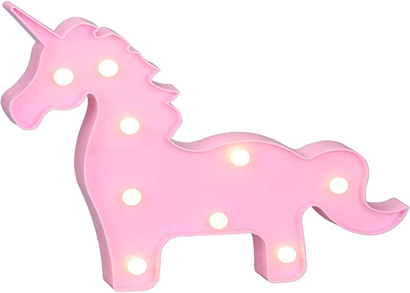Ayoo Unicorn LED Night Light Unicorn LED Battery Light Wall Decoration Party Light Living Room Kids Room Bedroom Table Holiday Birthday Party LED Lamp Light Pink Unicorn