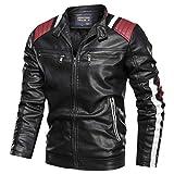 Pandaie Leather Jackets For Men Baseball Coat Vintage Stand Collar Zip Motorcycle Biker Bomber Jacket