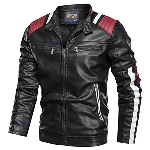 Pandaie Leather Jackets For Men Baseball Coat Vintage Stand Collar Zip Motorcycle Biker Bomber Jacket