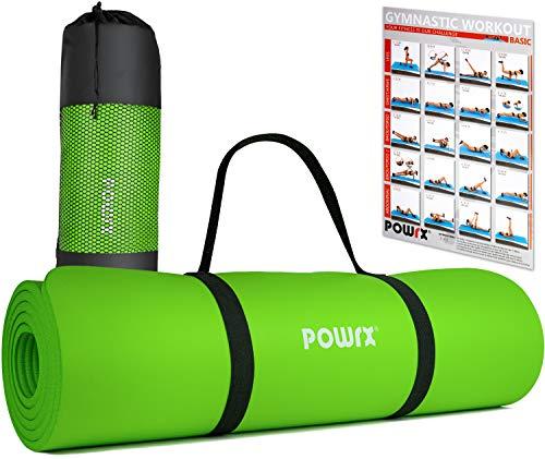 POWRX Tappetino Fitness 183 x 60 x 1 cm - Tappeto Palestra Ideale per Ginnastica, Yoga e Pilates - Ecocompatibile con Tracolla e Sacca Trasporto - Antiscivolo + PDF Workout (Verde Chiaro)