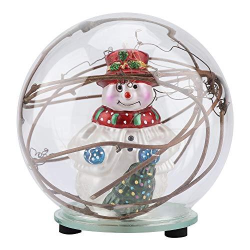 Boules à Neige Lumineuse LED Boule de Verre Creative Boule Noël Veilleuse Table Chevet Lumière d'Ambiance Décor de Chambre d'Enfants Sejour Maison Jardin Fete Noël Cadeau Père Noël (Vines)