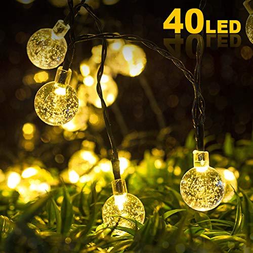 Nasharia LED Solar Lichterkette Aussen,8M 40er LED 8 Modi IP65 Wasserdicht Warmweiß Außerlichterkette Deko Beleuchtung Kugel mit Lichtsensor für Garten,Hochzeiten, Partys[Energieklasse A+++]
