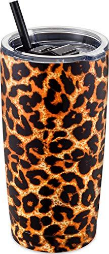 ALOUFEA Vaso de acero inoxidable con tapa y pajita, vaso aislado al vacío, vaso de doble pared, taza de café con recubrimiento en polvo, taza de café de viaje, diseño de leopardo
