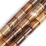 SHGbeads - Tubo a colonna con pietra preziosa in agata naturale marrone Botswana, 10 x 14 mm, per creazione di gioielli, circa 38 cm, 24 pezzi a 1 filo