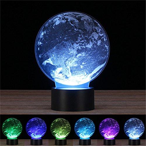 creny Earth 3D LED Night Light Touch Schreibtisch Lampe 7Farben ändern inneren Carving Optische Illusion USB Home Schlafzimmer Dekoration für Urlaub Geschenke