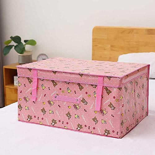 Caja de almacenamiento de tela plegable con tapa, no tejida, para ropa o colcha, 72 l