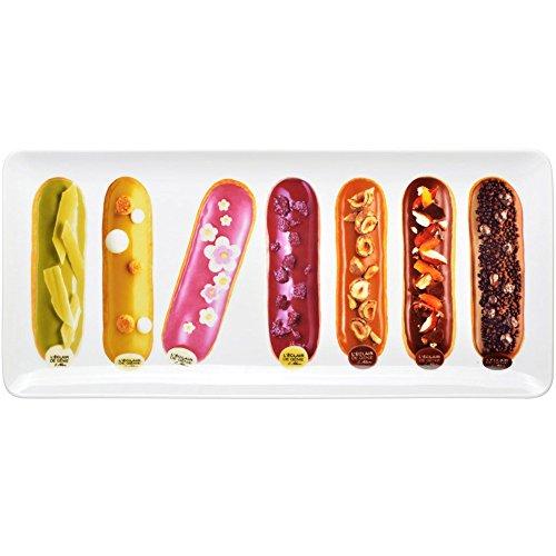 L'Eclair de Génie 35-2K-603 Plat rectangulaire à Dessert Eclairs pâtissiers Porcelaine Blanc et Multicolore 17 x 37 cm