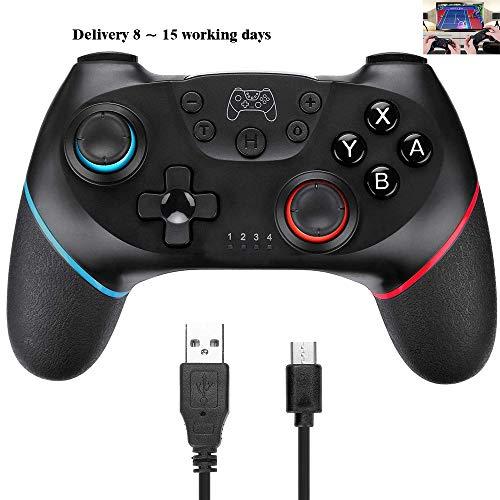 RUIXINBC Controlador Pro Switch para Nintendo Switch con Funciones Dual Shock Y Turbo, para NS Switch Pro Bluetooth Inalámbrico Gamepad, Joystick con Giroscopio De 6 Ejes,Bule+Red
