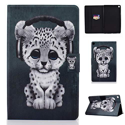Lspcase Galaxy Tab A 10.1 Zoll 2019 Hülle PU Leder Flip Case Cover Magnetisch Ständer Tasche Tablet Schutzhülle mit Kartenfach für Samsung Galaxy Tab A 10.1 SM-T510 / SM-T515 Leoparden Baby