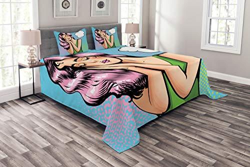 ABAKUHAUS Comic Tagesdecke Set, Sleeping Girl Retro-Pop-Art, Set mit Kissenbezügen Kein verblassen, für Doppelbetten 220 x 220 cm, Mehrfarbig