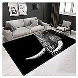 HDDFG Alfombras de Elefante 3D para el Suelo Alfombra de Animales Grande para Sala de Estar Alfombra Negra de Estilo nórdico de Lujo Alfombra de decoración del hogar Alfombra de Dormitorio