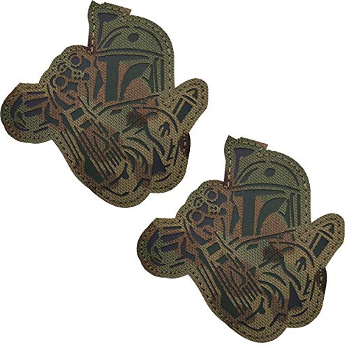 2 Pack IR Reflective Star Wars Boba Fett Mandalorian This is The Way Full Helmet Infrared Patch - Fastener Hook and Loop Backing Tactical Military Morale Appliques Emblem Badges, 3.35 x 3.35 Inch