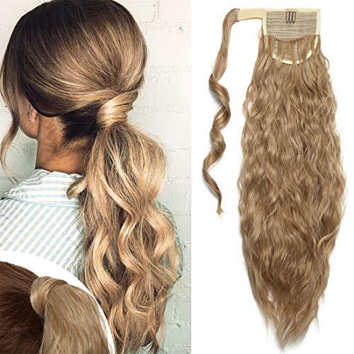 TESS Pferdeschwanz Extensions Ombre Ponytail Hair Corn Wave Zopf Haarteil Clip in Extensions wie Echthaar günstig mit Klettverbindung 20'(50cm)-90g Dunkelblond/Blond