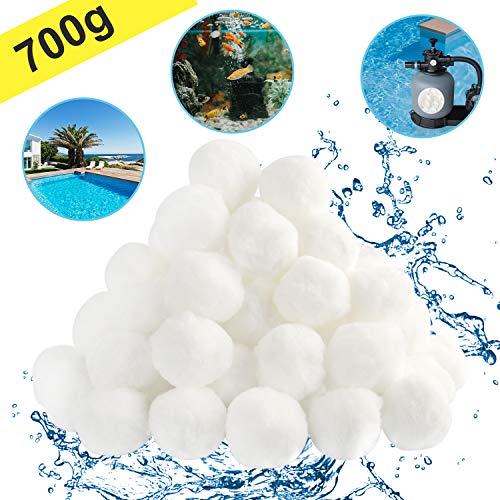 Filterbälle, Filter Balls 700g Ultrabeständiges Filtersystem, Das 25 Kg Filtersand Ersetzt und Als Filtermaterial für Schwimmbadpumpen, Filterpumpen und Aquarium-Sandfilter Verwendet Wird (Weiß)