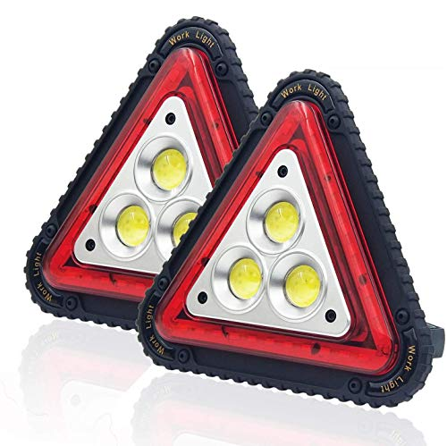 OTYTY 3 COB 30W 1500LM LED Work Light, Rechargeable Portable Waterproof LED Flood Lights Triangle Warning Light for Outdoor Camping Hiking Emergency Car Repairing Job Site Lighting (2 Pack)