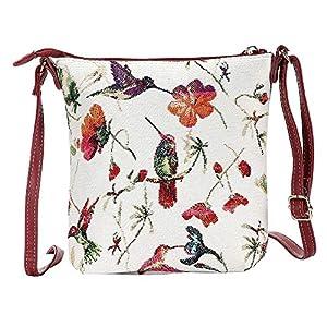 Signare Tapestry Small Crossbody Bag Sling Bag for Women with Bird Designs (Hummingbird, SLING-HUMM)