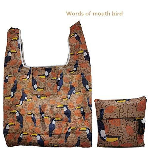 DFJU Leinentasche Einkaufstasche Eco Wiederverwendbare Einkaufstasche Cartoon Floral Schulter Faltbeutel Handtaschen Mundvogel