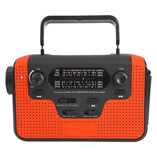 DAUERHAFT Plástico Rojo Solar Portátil Manivela Multibanda Am/FM/SW Tarjeta Bluetooth Radio enchufable Lámpara de Linterna LED multifunción, para el hogar, Camping(Rojo)