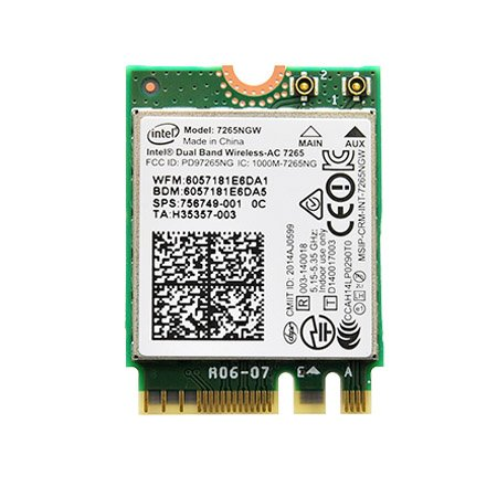 Intel Dualband Wireless-AC 7265 802.11ac, Dual Band, 2x2 Wi-Fi + Bluetooth 4.0 - (7265NGW)