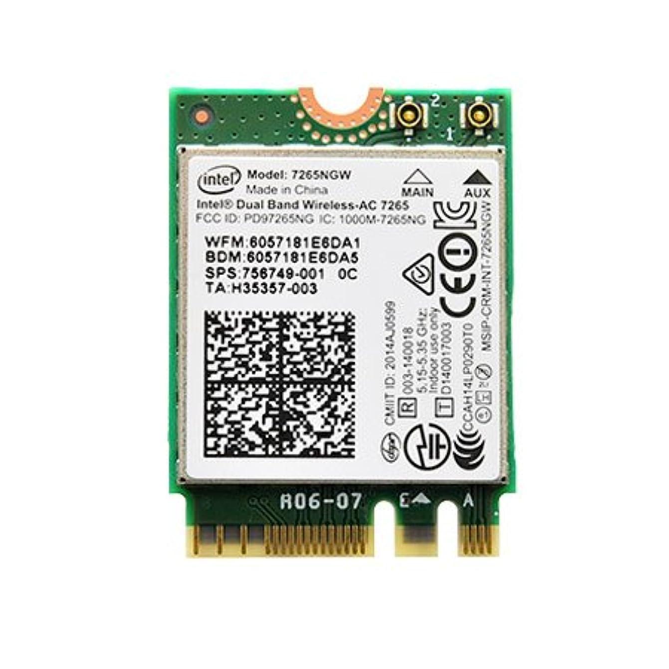 HP純正 756749-001 Intel Dual Band Wireless-AC 7265 867Mbps Dual Band 2x2 802.11ac + Bluetooth 4.0 M.2 無線LANカード 7265NGW for HP EliteBook 820 G2 840 G2 850 G2 720 G2 750 G2/HP ZBook 14 G2 15u G2/HP EliteBook Revolve 810 G3