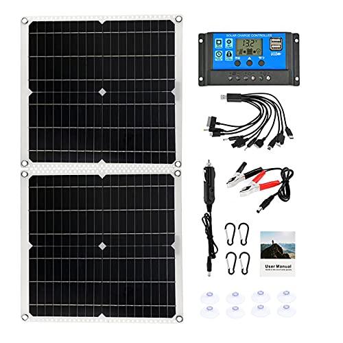 CHJAA El Panel Solar portátil 100W, el Cargador del Coche artesona el Sistema Solar, Tablero del Banco de la energía del USB