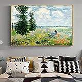 Cuadro en lienzo famoso de Claude Monet en Argenteuil, póster de paisaje e impresión, imagen artísti...