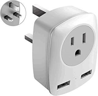 UK Power Adapter, UK Adapters for Travel, US to UK Adapter with 2 USB,3 in 1 UK Travel Adapter, for USA to UK(England,Scotland),Ireland,Hong Kong,etc.Ultra Compact (Type G) (Type G-UK Ireland)
