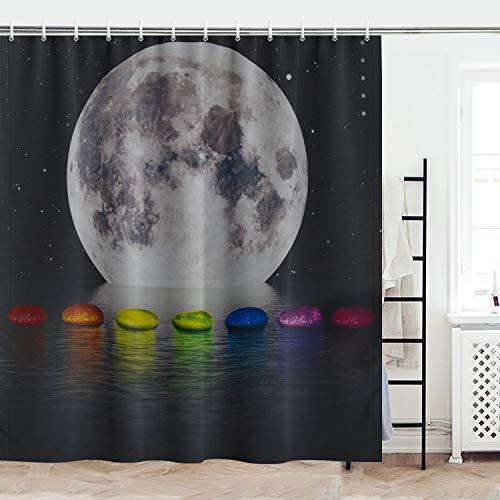 Maccyafst Mond Duschvorhang Galaxie Sterne Duschvorhang Schwarz Sternenhimmel Duschvorhang Bunte Chakra Steine Badvorhang Mondlicht Meer Natur Badezimmer Duschvorhang-Sets mit Haken