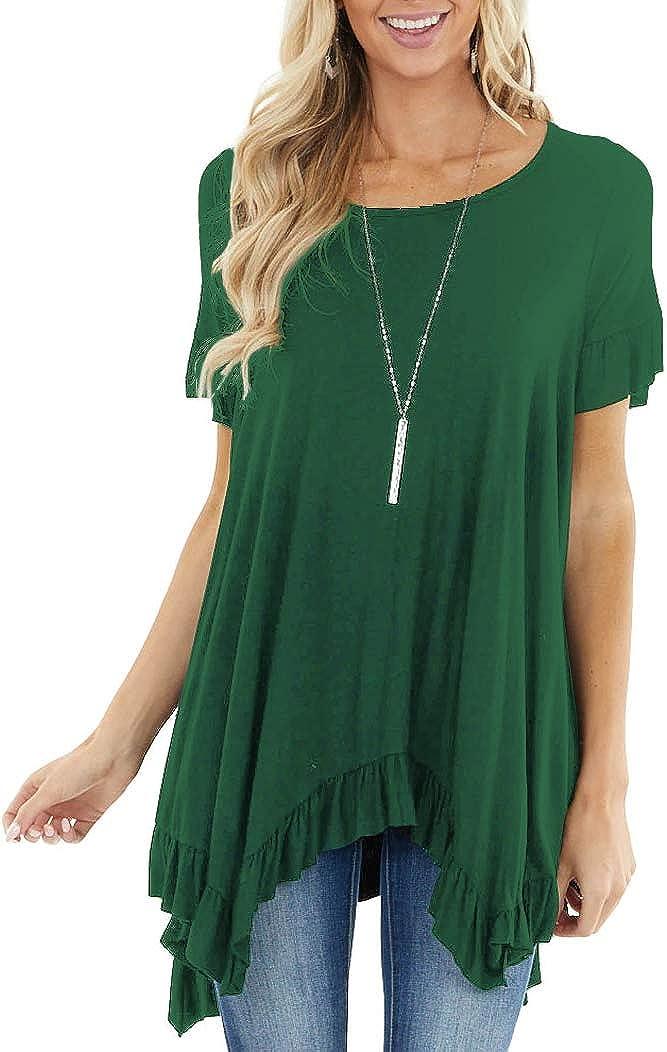 ETCYY Women's Plus Size Tunic Tops Short Sleeve Ruffle Summer Color Block Loose Causal T Shirts Tops 3XL-4XL