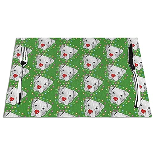 Tcerlcir Placemats Set of 6 Rescue Pitbull Christmas Heat Resistant Washable Non-slip Place Mats Table Mats for Kitchen Dining Table 18'X12'