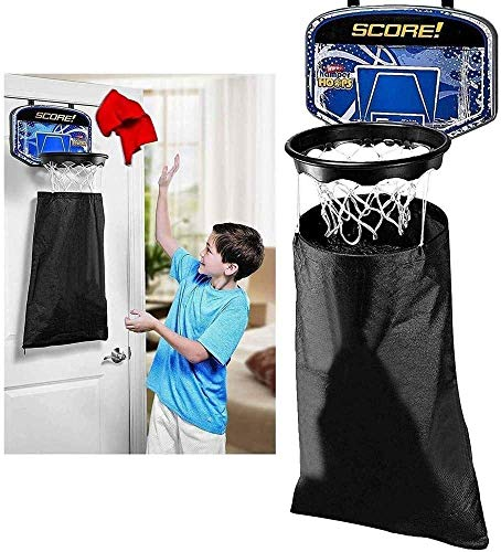 Ossian Basketball Hoop Wäschesammler Wäschesack - Neuheit Over Door Hanging Dirty Washing Slam Dunk Fun Basketball Ball Kids Home Schlafzimmer Geschenk Kleidung Halter mit Netz und Score Back Board