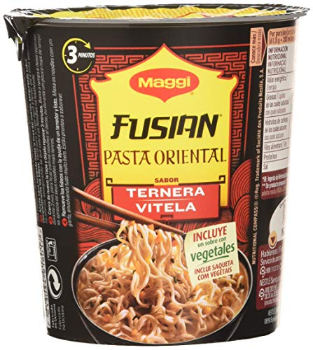 Maggi Fusian Pasta Oriental Noodles Sabor Ternera - Fideos Orientales, Pack of 8 x 61.5g, Total: 492 gr