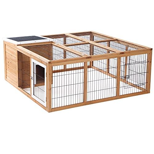 Pawhut Conejera de Exterior Jaula para Conejos Cabayas Animales Pequeños con Caseta Techo Asfáltico Abatible y Múltiples Puertas 123x120x52 cm Madera Natural