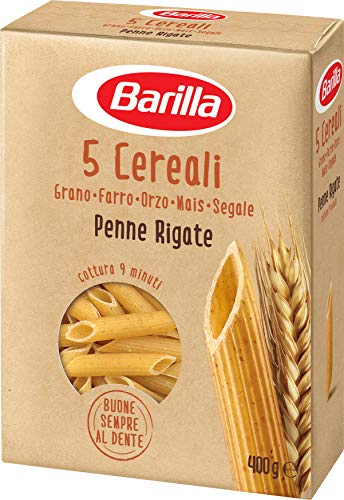 Barilla Pasta Penne Rigate 5 Cereali, Pasta Corta di Semola di Grano Duro, Orzo, Farro, Mais e Segale - 400 gr