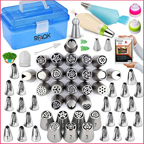 RFAQK-Russian piping tips set with storage box-54 Numbered easy to use...