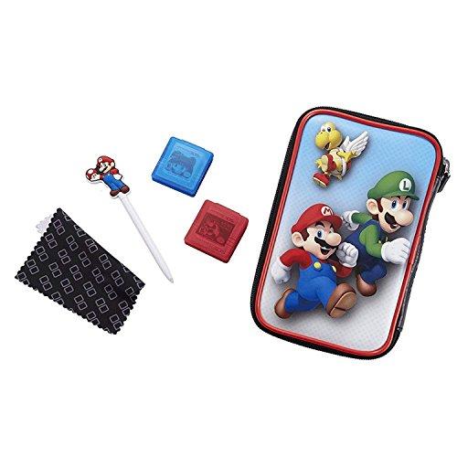 BigBen - Custodia per Nintendo New 2DS XL / 3DS XL / 3DS XL, set di accessori ufficiali Essential Mario Pack, 4 motivi a scelta, per proteggere New 2DS XL / 3DS e giochi Luigi Impostato