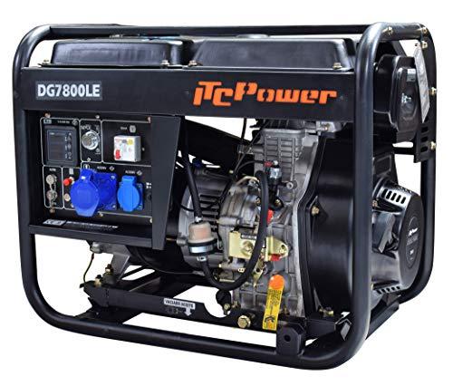 ITCPower IT-DG7800LE Generador Diésel Monofásico, 6300 W, 230 V, negro