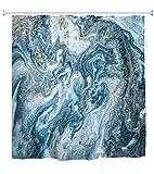 A.Monamour Pinturas Acrílicas Mixtas Blancas Y Azules De Lujo Efecto De Polvo Dorado Textura De Mármol Fondo Impermeable Larga Espesar Tela Cortina De Ducha De Poliéster con Ganchos 180x200cm