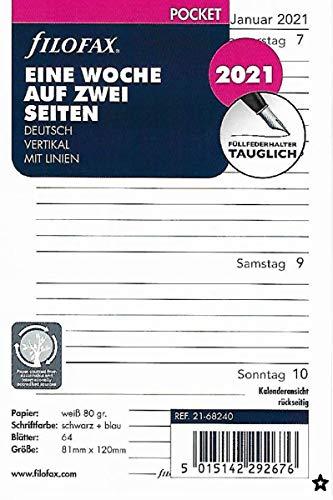 Filofax 2021 Kalender Pocket A7 Einlage Kalendarium 1Woche 2Seiten Wochenblätter Deutsch 21-68240, Weiss