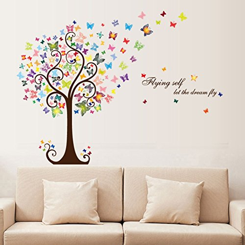 Smartcoco DIY Creative Romantic Butterfly Tree Wall Sticker Removable Wall Decals Kid Room Living Room Bedroom Decors