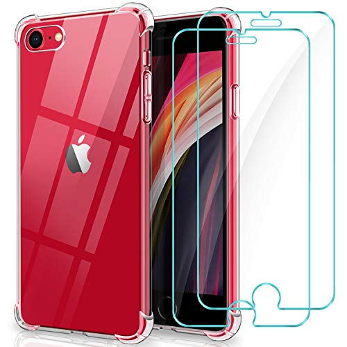 Winmall Coque pour iPhone Se 2020 [2 Pack Verre trempé Protection écran], Coque pour iPhone 8, iPhone 7, [AIR Cushion Protection] Transparent Silicone Bumper Coque pour iPhone Se 2020/8/7