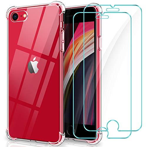 WINmall Cover per iPhone SE 2020, 2 Pack Protettiva in Vetro Temperato, Cover iPhone 8/7, [Rinforzare la Versione con Quattro Angoli] Antiurto Trasparente Silicone Custodia per iPhone SE 2020/8/7