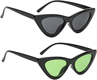 Baosity 2pc Retro Women Girls Ladies Mirror Cateye Triangle Sunglasses Fashion UV400