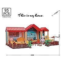 Llsdls 新しいDIYプリンセスドールハウスビッグサイズPrepend Toysピンクの手作り建設城のドールハウススーツクリスマスプレゼント ( Color : 30 95pcs )