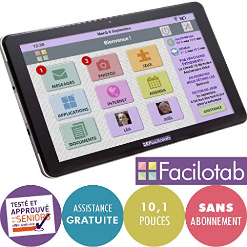 FACILOTAB Tablette L 10,1 Pouces WiFi/3G+ - 32 Go - Android...